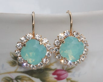 Swarovski Pacific Mint Opal Halo Rhinestone Earrings,Aqua Mint Blue Green Opal Crystal,Clear Rhinestone Halo,Silver or Gold,Bridesmaids,Drop
