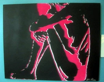 Original Canvas Stencil Painting by Jessica Pope - Skeleton Girl in Hot Pink/White with Black Background - Glows under Black Lights