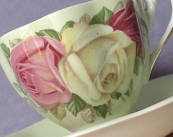 Vintage Large English Roses tea cup and saucer, Queen Anne pale yellow teacup, Antique teacup, Yellow roses & Pink roses bone china teacup