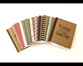 Kraft notebook, personalized journal, diary, sketchbook, custom size, front and washi edge, gift for friends, coworkers, college students