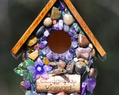 Miniature garden birdhouse with Amethyst stones, purple flower and wine corks Whimsical ~