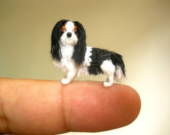 Tricolor Cavalier King Charles Spaniel - Tiny Crochet Miniature Dog Stuffed Animals - Made To Order