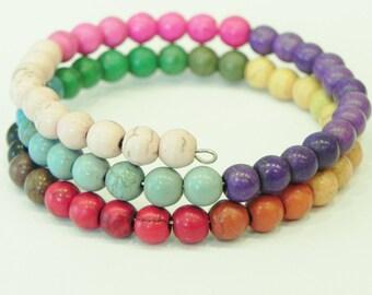 Rainbow coloured dyed howlite memory wire gemstone wrap bracelet Rainbows Multi coloured cuff style wrap bracelet colour block summer fun