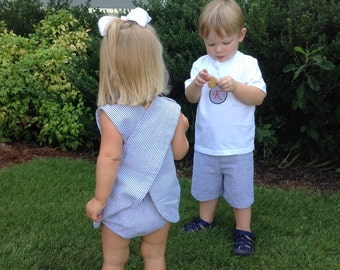 Twins, Matching, cross over dress, matching, siblings, crossover, Free Monogram, girls, boys, toddlers, sun suit, classic,brother and sister