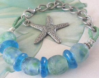 African Glass Bead Bracelet, Blue and Green Glass Bracelet, Teal Suede Cord, Oxidized Silver Chain and Starfish Free Shipping OOAK