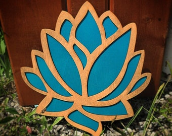 Wood and Teal Lotus Flower Wall Art