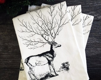 Deer Tree Antler Cotton Reusable Napkins - Set of 4 - Earth Friendly -Screen Printed Rustic Table  Decor