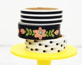 Black and White Coral Washi Tape Set Black & White Stripes / Coral Flowers / Black White Polka Dots