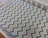 READY TO SHIP -- Gray and Aqua Chevron Changing Pad Cover--