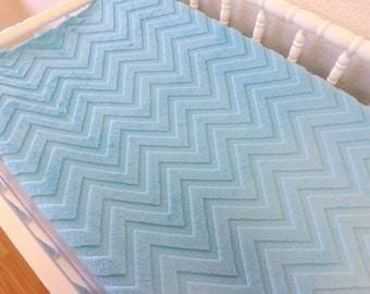 Minky Chaning Pad Cover- READY TO SHIP -- Blue Chevron Minky Changing Pad Cover--