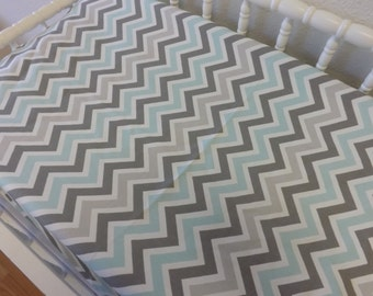 Changing Pad Cover- READY TO SHIP -- Gray and Aqua Chevron Changing Pad Cover--