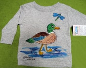 Mallard Duck Long Sleeve Tshirt Hand painted for babies, toddlers, kids