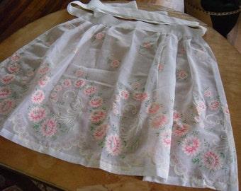 Vintage Half Apron in Organza Flocked Floral Print Fabric Vintage Linens