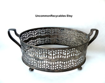 Insert Dish- Metal Holder- Silver Plate Ornate- Handles- Shabby Lace- French Chic- Antique