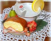 Tea Cup & Saucer Table Top Vignette Home Decor Handcrafted Vintage Parts Floral Napkin Faux Lemon Slice Bread Slice