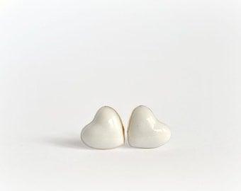 Mini heart stud post earrings - white - porcelain stud earrings posts - gold rim heart shaped stud earrings