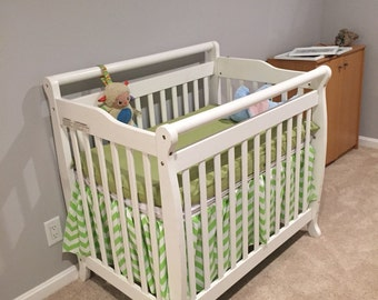 Lime Green and White Chevron Zig Zag Cotton Crib Bedskirt