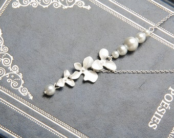 Bridesmaid Necklace, Orchid necklace, silver flower necklace, Bridesmaid Gift, White Wedding Jewelry, Wedding Necklace, Bridal necklace