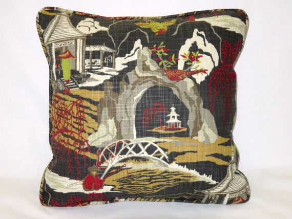 Oriental Throw Pillow Covers : Black Oriental Pagoda Throw Pillow Cover and Insert 18