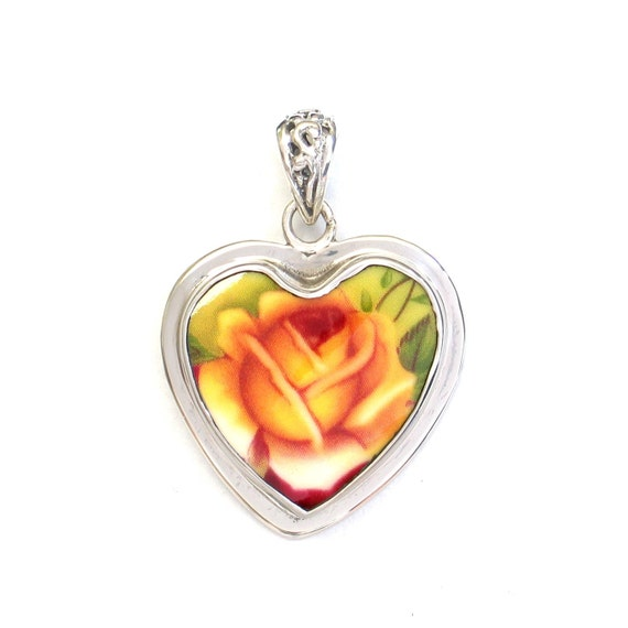Broken China Jewelry Old Country Roses Yellow Rose Sterling Heart Pendant