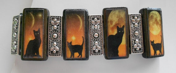 Handcrafted Black Cat Halloween Altered Art Bamboo Tile Collage Bracelet