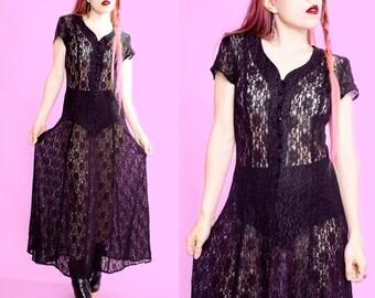 90s Vintage Sheer Black Lace Goth Grunge Maxi Dress Small / Medium