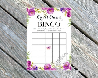 Instant Download- Bridal Shower Bingo, printable game, Wedding shower game, bridal shower game, bridal shower, bingo card, purple lavender