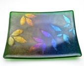 Iridescent Fused Glass Plate Powder Printed Leaves Dark Transparent Green