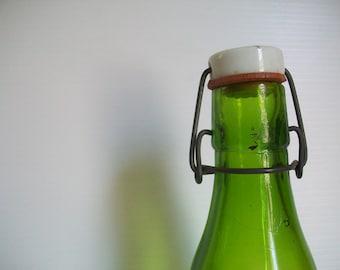 vintage green glass bottle with wire bail signed Vandor Imports . Made in Japan . vintage bottles vintage hand blown bottle vintage kitchen