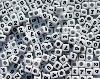 100pc 7mm Number Beads White with Glossy Black Numbers