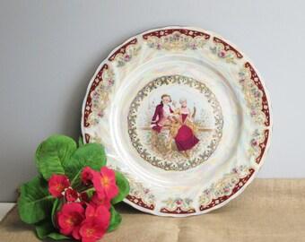 Romantic Georgian style decorative plate - opalescent glaze - charming couple in pastoral locale - plate wall decor