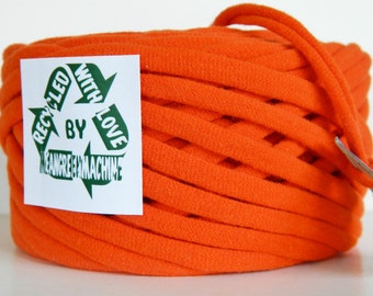 Recycled T-Shirt Yarn, Orange 34 Yrds , T Shirt Yarn, Bulky