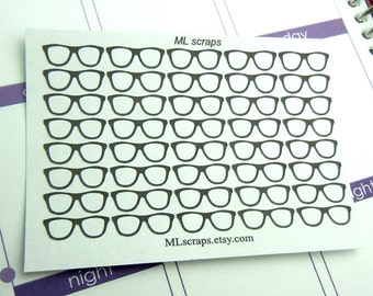 Black Glasses Stickers-Set of 40