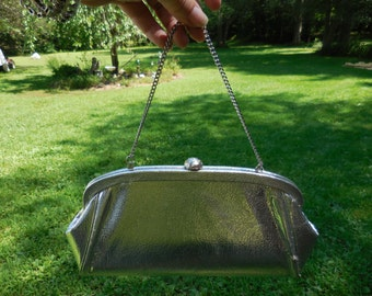 Vintage Silver Metallic Clutch Evening Bag With Chain 1950s to 1960s Wedding Dressy Purse Vinyl
