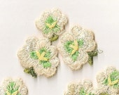 Sweet Blooms: Veintage Embroidered Sew-On Flower Appliques - Set of 3 New Old Stock Appliques