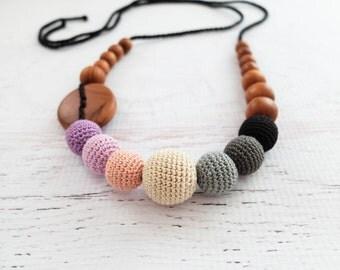 Purple & Black Gradient Nursing Necklace - Apple Wood