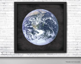 Giant Earth Poster, Planet Earth Art Print, Square Planet Earth Print, Earth Art Print, Planet Earth, Outer Space Earth Poster, Earth Print