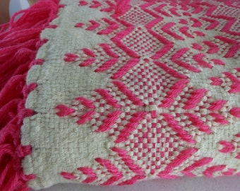 Hand Woven Blanket Throw Wool Yarn Vintage OOAK