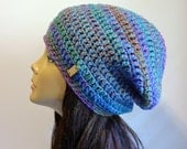 Slouchy Beanie, Knit Hat, Slouchy Hat, Multi colored Rainbow Beanie, Slouch Beanie, Women Hat, Chunky Knit, Oversized Beanie