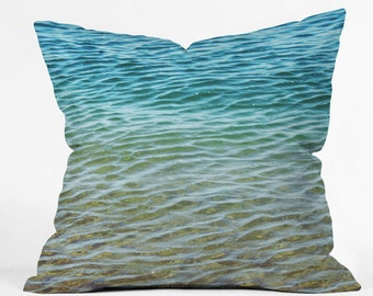 Ocean Home Decor. Water Waves Throw Pillow. Nautical. Sea. Beach Home.