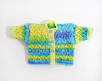 Knitted Baby Jacket - Blue, Yellow and Green, 0 - 6 months Cable Knitted Sweater Colorful Baby Jacket Soft Warm Clothing Shower Gift