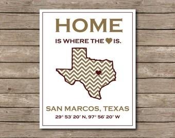 Texas State University Printable, San Marcos, Texas Art Print Go Bobcats! SWTS