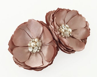 Blush Satin Flower - Hair, Shoe Clips, Brooch Pin, Comb for a Bride, Bridesmaid Gift, Flower Girl, Event, Family Photo Pick Your Color - Kia