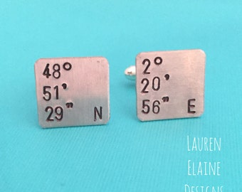 Custom Hand Stamped Aluminum Square Cuff Links- You Customize- Initials, Date, Coordinates- Wedding Gift, Groomsman Gift, Gifts for Him