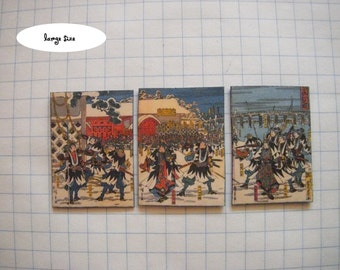 """dollhouse scale """"Night Attack of the 47 Ronin"""" triptych by Ando Hiroshige, two sizes"""