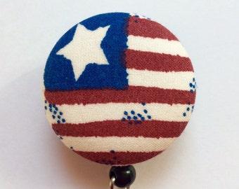 Americana Badge Reel - Patriotic Badge Holder - ID Badge Reel - Retractable Badge Holder - American Flag - Nurse Gift - Fabric Badge Reel