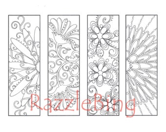 """DIY Bookmark Printable Coloring Page-Zentangle inspired """"Curly Swirly Flowers""""-Zendoodle Doodle-PDF Instant Download"""