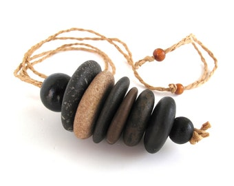 Stacked Stone Necklace Rock Jewelry Mediterranean Stone Cairn Pendant River Stone Long Necklace Adjustable Hemp Cord Zen Stones - LAILA