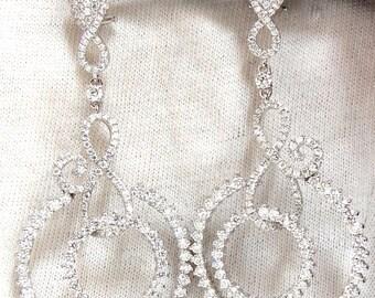 5.50ct Natural Round Diamonds Swirl Circle Dangle Earrings 18KT 2.9 INCH