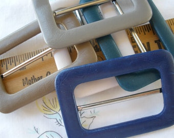 """5 Buckles color variety Scarf Slide 2"""" opening 2"""" x 2 13/16"""" metal Teal Blue Taupe Tan white faux leather vinyl covered ribbon slide"""